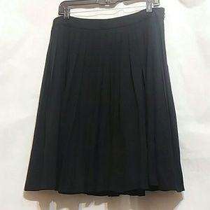 NWT Talbots Black Silk Chiffon Pleated Skirt